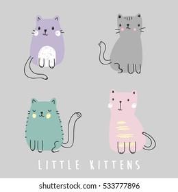 cute cat illustrations,vector