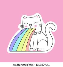 cute cat in kawaii style puking rainbow - sticker on pink
