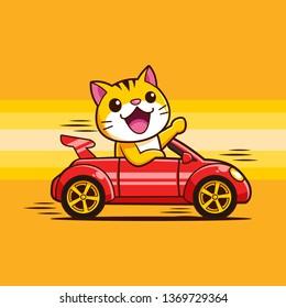 cute Cat Kitten driving a car