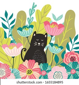 Cute cat in leaves and whimsical flowers, hiding in the garden. Spring in the garden, animal illustration, cute kids and children print for cards, clothing, posters, stationery.