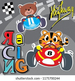Cute cat and little bear cartoon driving a vintage race car isolated on road background illustration vector