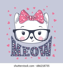 Cute cat. Little kitty with glasses, bow. Meow slogan