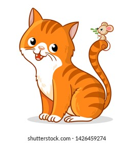 Cute cat with a cute little mouse on its tail. Vector illustration in cartoon style. Pet on a white background.