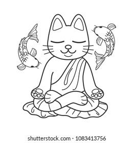 Cute cat in meditation. Vector illustration for coloring book