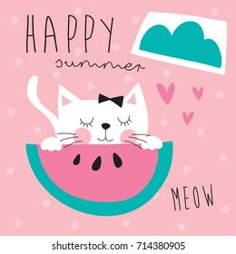 cute cat with melon vector illustration