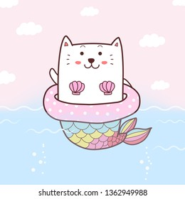 cute cat mermaid cartoon hand drawn swimming in the sea with swim ring and pastel color background