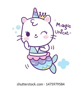 Cute cat mermaid cartoon swimming in unicorn vector, kawaii animal with pastel color, Nursery decoration, hand drawn isolated on a white background: Fairytale pony horse- Perfect for kid's greeting.