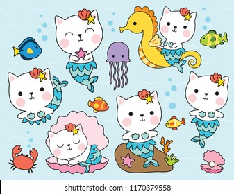 Cute cat mermaid character with fishes, seahorse, shell, and crab under the sea vector illustration.