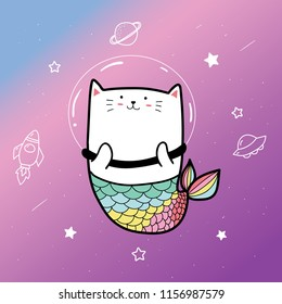 cute cat mermaid and space background