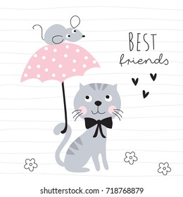 cute cat and mouse with umbrella vector illustration