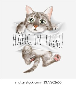 cute cat on hang in there sign illustration