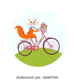 Cute cat on a pink bike, illustration