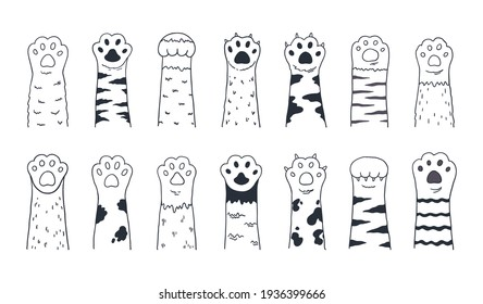 Cute cat paws. Doodle kitten and puppy limbs, wild or domestic animals furry feet with claws. Cartoon sketch of contour body parts. Black and white pets legs. Vector minimal background