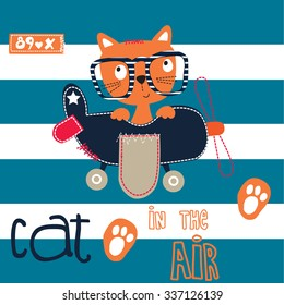 cute cat pilot in the air on striped background vector illustration