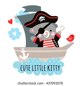 Cute cat pirate on a ship at sea. Children's illustration with a pirate cat..