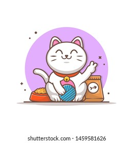 Cute Cat with Plying Wool Ball and Cat Food Vector Illustration. Cat Pet Icon Logo. Petshop Logo. Flat Cartoon Style Suitable for Web Landing Page,  Banner, Flyer, Sticker, Wallpaper, Card, Background