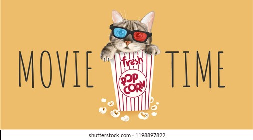 cute cat in popcorn box illustration
