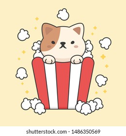Cute cat in a popcorn bucket cartoon animal character vector. Cartoon character design.