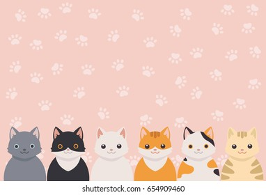 Cute cat portrait with cat's paws pattern background.