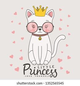 Cute cat princess with crown, sunglasses. Little Princess slogan. Love Yourself. Cartoon vector illustration