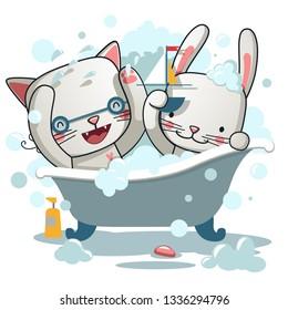 Cute cat and rabbit  Bath - Vector