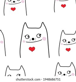 cute cat  with  red heart   seamless  pattern  background  design for card and print  vector eps.10