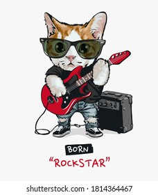 cute cat rock star playing guitar illustration