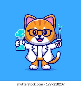Cute Cat Scientist Cartoon Vector Icon Illustration. Animal Science Icon Concept Isolated Premium Vector. Flat Cartoon Style