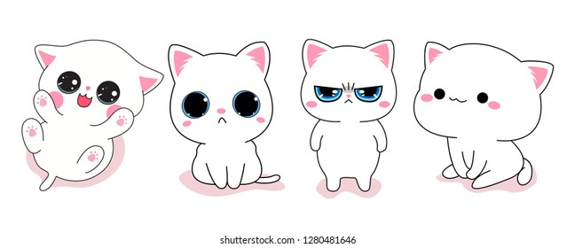 Cute cat set, kitten sticker. happy, shy, angry, puffy kitty expression