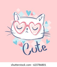 cute cat sketch vector illustration,  children print on t-shirt girl. hand drawn cat with glasses