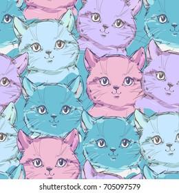 cute cat sketch vector illustration pattern, seamless vector cat