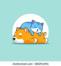 Cute cat sleeping on top of dog back animal activity vector outline illustration