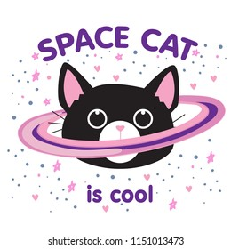 Cute cat in space print. Childish vector illustration in cartoon style. Perfect for kids and baby apparel design, wall art, poster.