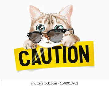 cute cat in sunglasses with caution sign illustration