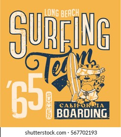 Cute cat surfing team, vector artwork for children wear