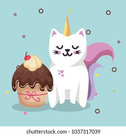 cute cat sweet kawaii with cupcake birthday card