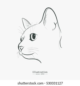Cute Cat Symbol with Drawing style  and Hipster style vector illustration