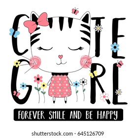 cute cat with typography vector for print design.