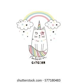 cute cat unicorn, doodle illustration for kids