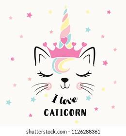 Cute cat unicorn illustration for kids