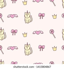 Cute cat unicorn seamless pattern, loves, wings, crown, lollypop, ribbon