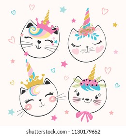Cute cat unicorns, doodle illustration for kids