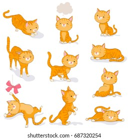 cute cat in various poses. cartoon kitten dreaming, begging, standing, sitting, walking, catching, resting, scared, playing with a bow. set of orange tabby kitty on white. vector illustration