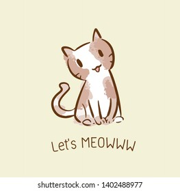 cute cat vector cartoon kawaii, relax  water color style, concept