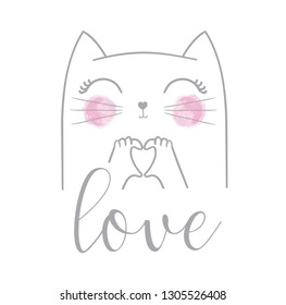 Cute cat vector design.Children illustration for School books and more.Love slogan. Animal print. Valentine's Day.
