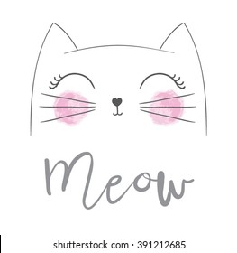 Cute cat vector design.Children illustration for School books and more.Meow slogan. Animal print.