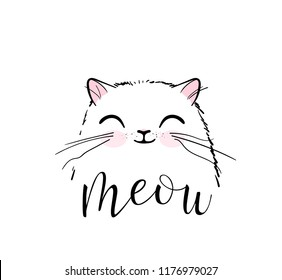 Cute cat vector print design. Meow lettering text. Kitten face vector background. Funny and cool smiling cartoon character. Love baby illustration.