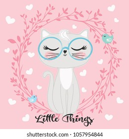 Cute cat vector.T shirt prints.Animal drawing.Children illustration for School books and more. Greeting cards.