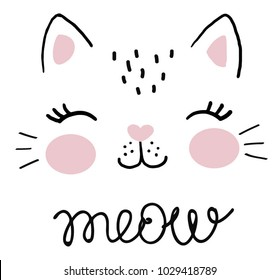 cute cat vector.T-shirt Print.Love cards.Valentine's Day.animal print.Children illustration for School books and more.Separate Objects.cartoon character.animal love.little princess.pussycat vector