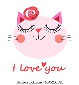 Cute cat vector.T-shirt Print.Love cards.Valentine's Day.animal print.Children illustration for school books and much more. Separate subjects.